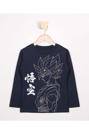 Dragon Ball Menino Camisolas de Manga Larga - Camiseta Infantil Manga Longa Gola Careca