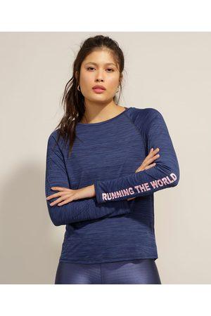 "ACE Mulher Camiseta - Blusa Esportiva Running The World"" Manga Longa """