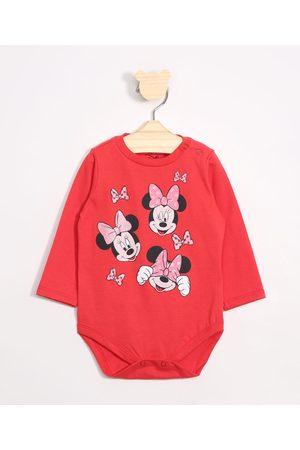 Disney Menina Body - Body Infantil Minnie Manga Longa Decote Redondo
