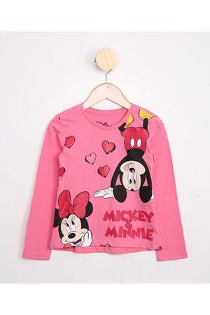 Disney Menina Manga Longa - Blusa Infantil de Algodão Minnie e Mickey com Glitter Manga Longa