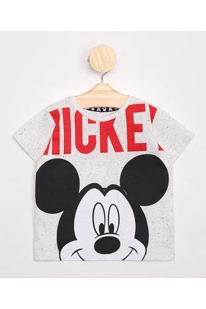 Disney Menino Camisolas de Manga Curta - Camiseta Infantil Mickey Manga Curta Off White