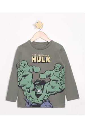 Disney Menino Camisolas de Manga Larga - Camiseta Infantil Hulk Manga Longa Militar