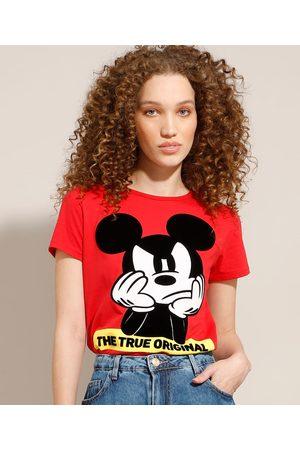 Disney Camiseta de Algodão Mickey Flocada Manga Curta Decote Redondo Vermelha