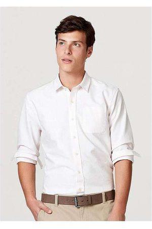 Hering Homem Camisa Casual - Camisa Básica Masculina Mangas Longas em Tecido Ox