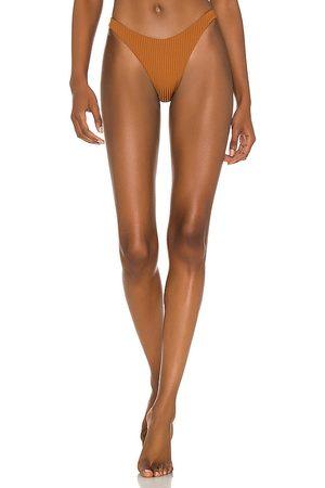 Vitamin A Bikini - California High-Leg Bikini Bottom in Brown. - size L (also in M, S, XS)