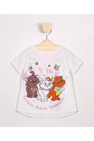 Disney Blusa Infantil Marie Manga Curta Decote Redondo Off White