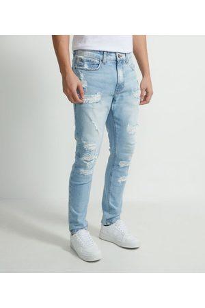 Blue Steel Homem Calça Skinny - Calça Super Skinny Jeans Destroyed       48