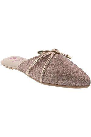 MOLEKINHA Menina Sapato Mule - Mule Kids Detalhe em Laço Glitter Rosé B
