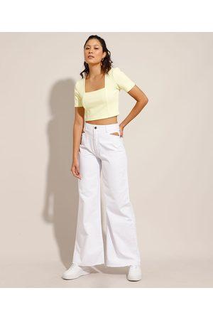 Clock House Calça Wide Pantalona de Sarja com Vazado Cintura Super Alta Branca