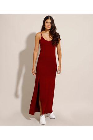 Basics Mulher Vestido Longo - Vestido Básico com Fenda Longo Alça Fina Escuro