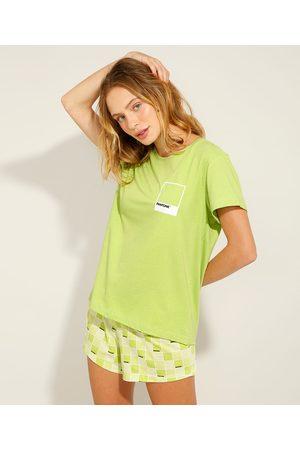Pantone Pijama de Algodão Manga Curta Verde