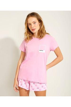 Pantone Pijama de Algodão Manga Curta Rosa