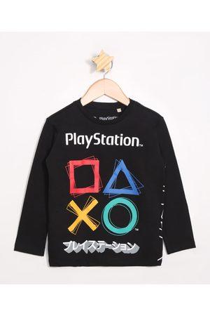 Playstation 3 Menino Camisolas de Manga Larga - Camiseta Infantil Manga Longa Preta
