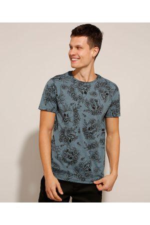 AL Contemporâneo Homem Manga Curta - Camiseta Masculina Estampada Floral com Caveira Manga Curta Gola Careca