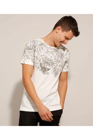AL Contemporâneo Camiseta de Algodão Slim Folhagem Manga Curta Gola Careca Branca