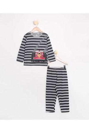 Brandili Pijama Infantil Carrinho Listrado Manga Longa Cinza