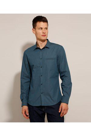 AL Contemporâneo Camisa Slim Maquinetada Estampada Poá Manga Longa Azul