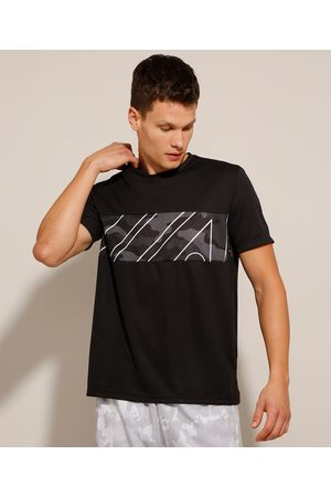 ACE Camiseta Esportiva Camuflado Manga Curta Gola Careca Preta