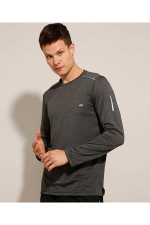 ACE Homem Camisolas de Manga Larga - Camiseta Esportiva Slim com Refletivo Manga Longa Gola Careca Mescla Escuro