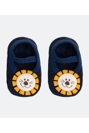 Teddy Boom (0 a 18 meses) Criança Meias - Meia Sapatilha Infantil com Antiderrapante Leão Aplicado - Tam 0 a 12 meses | | | 00/06 M