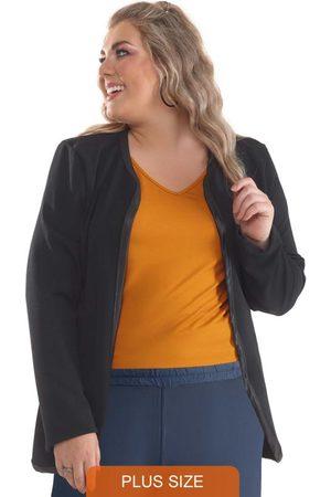 Lepoque Mulher Blazer - Blazer Plus Size Malha Crepe com Cirrê