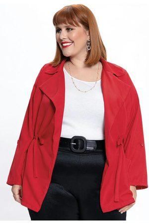 Mink Mulher Parka - Parka Plus Size com Amarração Vermelha