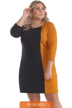 Lepoque Mulher Vestidos - Vestido Plus Size Viscolycra Bicolor Mostarda