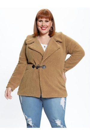 Mink Mulher Casacos - Casaco Plus Size de Pelo Sintético