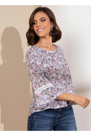 QUINTESS Mulher Blusa - Blusa Floral Rosado com Babado na Barra