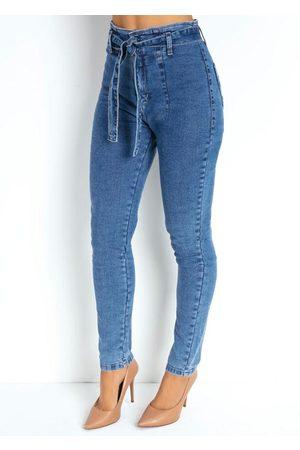 Sawary Jeans Mulher Calça Skinny - Calça Jeans Skinny com Pregas e Faixa Sawary