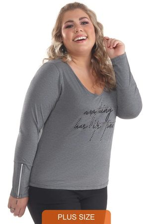 Lepoque Blusa Plus Size com Zíper Mescla Escuro