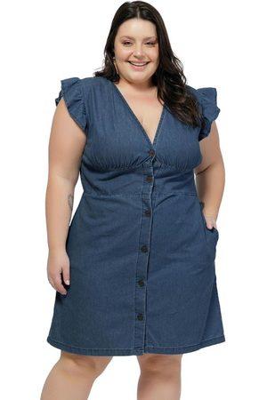 Mink Mulher Vestidos - Vestido Plus Size Jeans Escuro com Babados