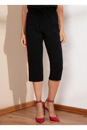 Quintess Mulher Calça Cintura Alta - Calça Pantacourt Preta com Faixa Lateral