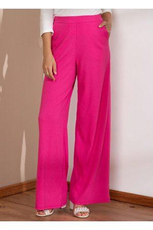 QUINTESS Mulher Calça Pantalona - Calça Pantalona Pink com Bolsos