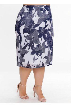 Mink Mulher Saia Estampada - Saia Midi Plus Size Floral com Elástico no Cós