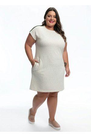 Mink Mulher Vestidos - Vestido Plus Size Off White com Listras