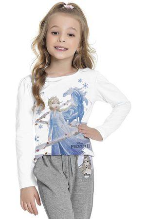 Frozen Menina Manga Longa - Blusa Manga Longa Branca