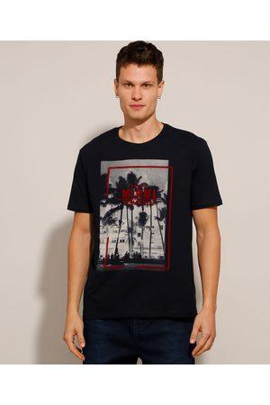 """Clockhouse Homem Camisolas de Manga Curta - Camiseta de Algodão Miami"""" com Flocado Manga Curta Gola Careca Azul"""""""