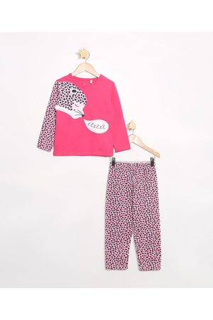 Brandili Menina Pijamas - Pijama Infantil Manga Longa Onça Rosa Escuro