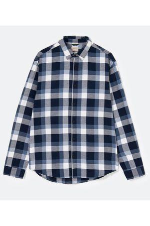 Marfinno Homem Camisa Formal - Camisa Xadrez em Flanela Leve | | | G