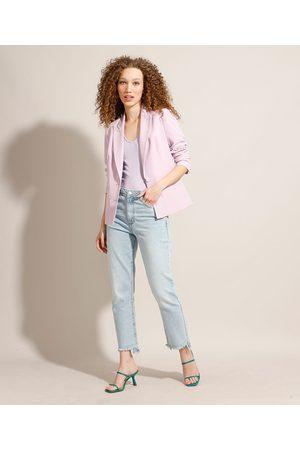 Clockhouse Calça Reta Jeans com Barra Desfeita Cintura Super Alta Claro