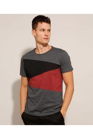 AL Contemporâneo Camiseta de Algodão Slim com Recortes Contrastantes Manga Curta Gola Careca