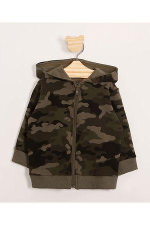 BABY CLUB Menino Casacos - Blusão Infantil de Moletom Camuflado com Capuz e Zíper Verde Militar