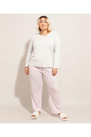 Design Íntimo Mulher Pijamas - Pijama Manga Longa Plus Size com Estampa Xadrez Vichy Mescla Claro