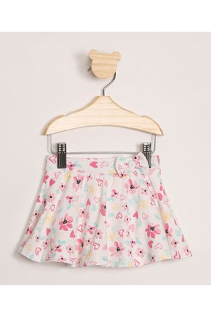 BABY CLUB Menina Saia Estampada - Saia Infantil Floral com Glitter e Laço Off White
