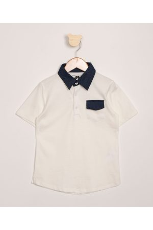 PALOMINO Menino Camisa Pólo - Polo Infantil com Bolso Manga Curta Off White