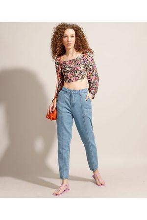 SAWARY Mulher Calça Cintura Alta - Calça Mom Jeans com Recortes Cintura Super Alta Claro