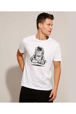 Clockhouse Camiseta de Algodão Astronauta Manga Curta Gola Careca Branca