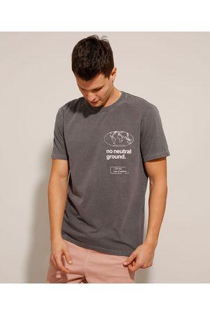 """Clockhouse Camiseta de Algodão No Neutral Ground"""" Manga Curta Gola Careca Chumbo"""""""
