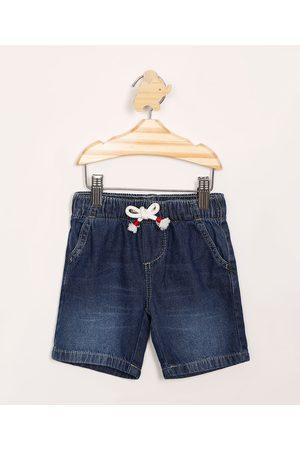BABY CLUB Bermuda Infantil Jeans Reta com Cordão Escuro